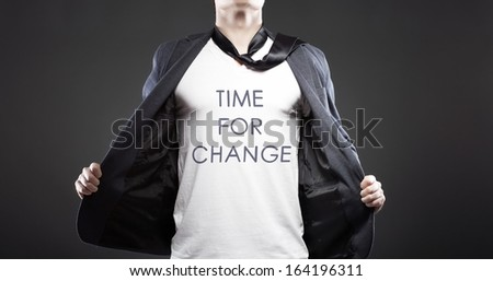 Time for change with young successful businessman creative concept - stock photo