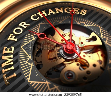 Time for Changes on Black-Golden Watch Face with Closeup View of Watch Mechanism.  - stock photo