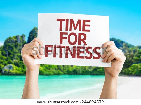 Time for Fitness card with a beach on background - stock photo