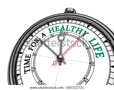 Time for healthy life motivation on concept clock, isolated on white background - stock photo