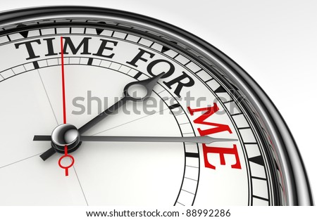 time for me concept clock closeup on white background with red and black words
