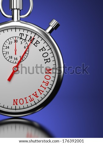 """Time for Motivation - Stopwatch with """"Time for Motivation"""" slogan on a blue background. - stock photo"""