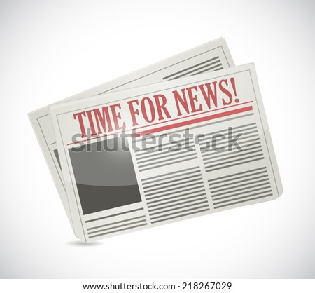 time for news.newspaper illustration design over a white background - stock photo