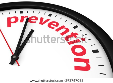 Time for prevention, health and safety lifestyle concept with a clock and prevention word and sign printed in red 3d render image.