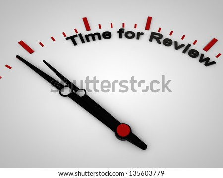Time for review on a clock, one minute before twelve - stock photo