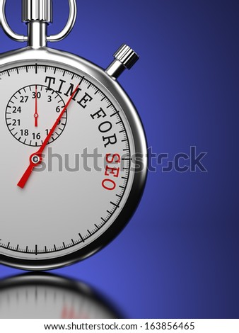 Time for SEO. Stopwatch with Time for SEO Slogan on a Blue Background. - stock photo
