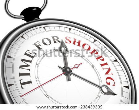 time for shopping concept clock isolated on white background - stock photo
