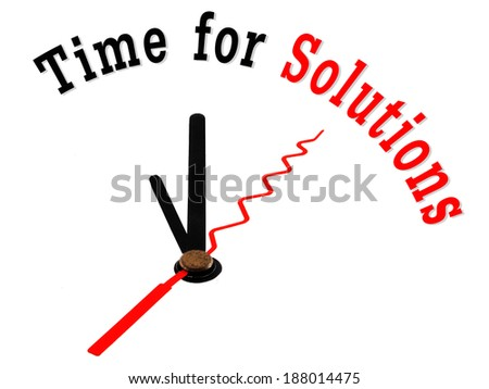 time for solutions concept clock closeup - stock photo