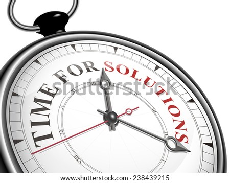 time for solutions concept clock isolated on white background - stock photo