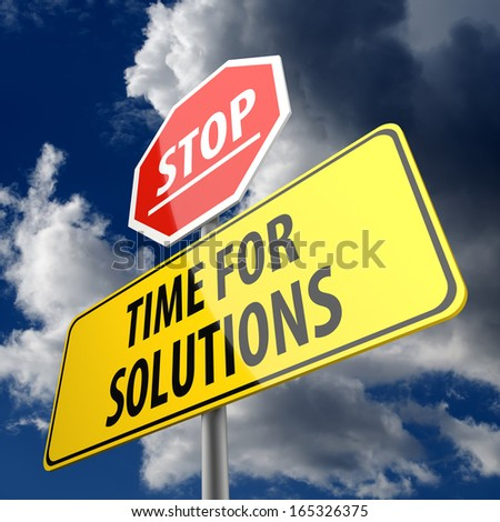 Time for Solutions words on Road Sign and Stop Sign - stock photo