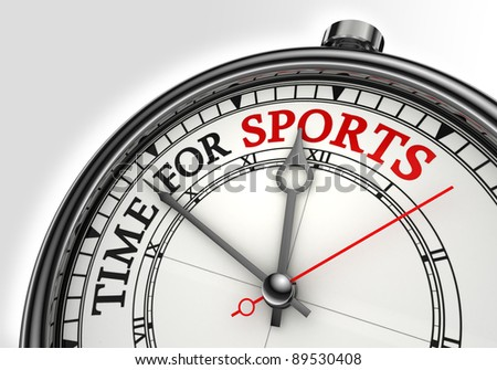 time for sports concept clock closeup on white background with red and black words