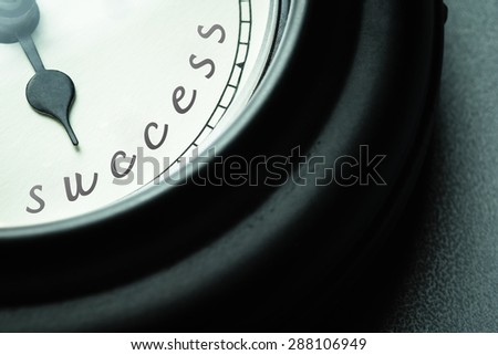 Time for success concept, closeup clock hand point at the Success word - stock photo