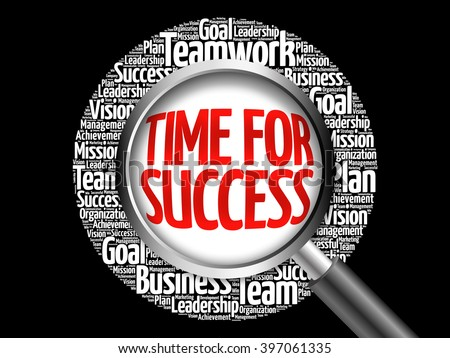 Time for Success word cloud with magnifying glass, business concept - stock photo