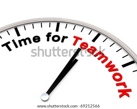 Time for Teamwork on a clock - stock photo