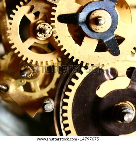 time gear inside my rare clock - stock photo