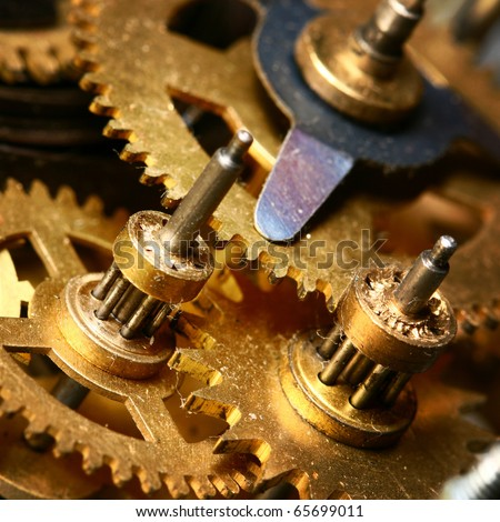 time gear inside my rare clock - stock photo