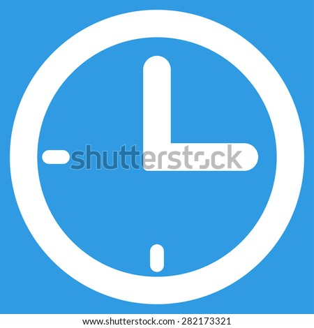 Time icon from Basic Plain Icon Set. Style: flat symbol icon, white color, rounded angles, blue background. - stock photo