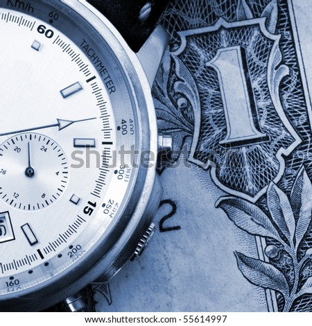 time is business money concept with watch - stock photo