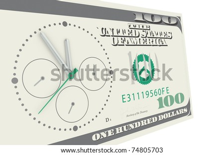 Time is Money. A Chronograph mounted on a 100 dollar bill - stock photo