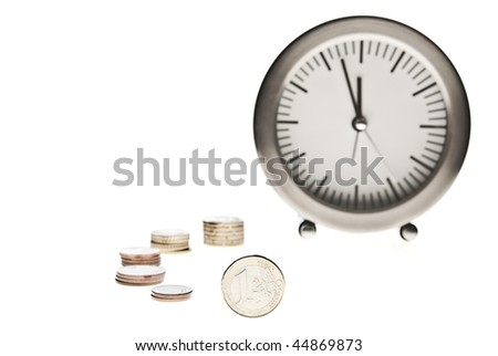 time is money alarm clock and coins on white background - stock photo