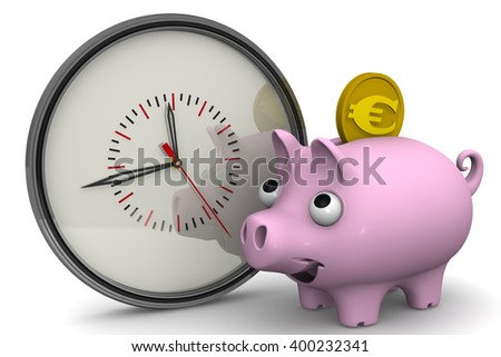 Time is money. Analog clock and piggy bank with a coin of the European currency on a white surface. Financial concept. 3D Illustration. Isolated - stock photo