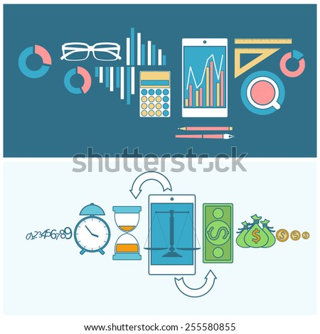 Time is money and finance concept smartphone with scales and business icons in flat design. Raster version - stock photo