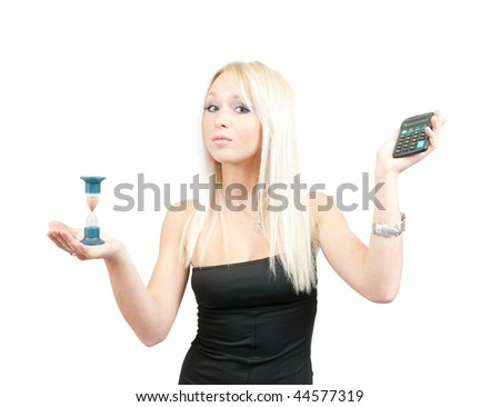 Time is money.  Businesswoman with calculator and sand glass