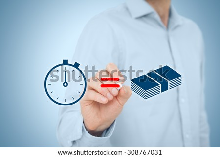 Time is money concept. Businessman draw simple image illustrating time is money concept.