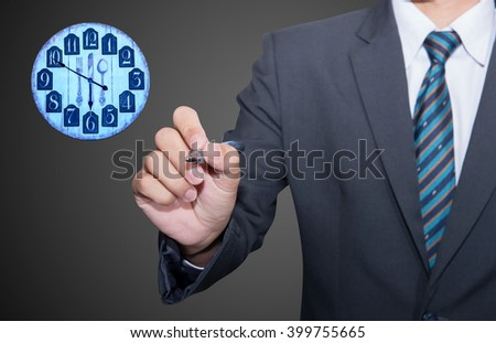Time is money concept. Businessman draw simple image illustrating time is money concept.  - stock photo