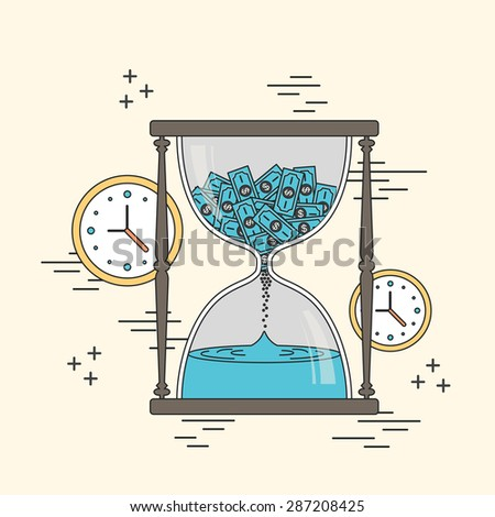 time is money concept: hourglass and clocks elements in line style - stock photo
