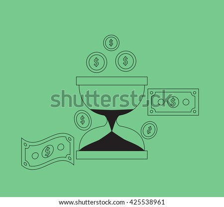 Time is money concept. Hourglass coins. Business currency and clock, dollar saving, watch and cash, sandwatch and monetary. Time management  illustration. Black thin line on green background - stock photo