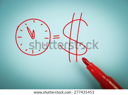 Time is money concept is on blue paper with a red marker aside. - stock photo