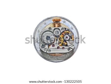Time is money concept (old watch mechanism and Euro coin) - stock photo