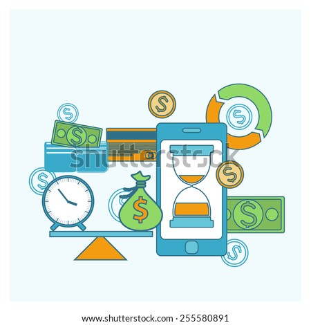 Time is money concept smartphone with scales and icons in flat design. Raster version - stock photo