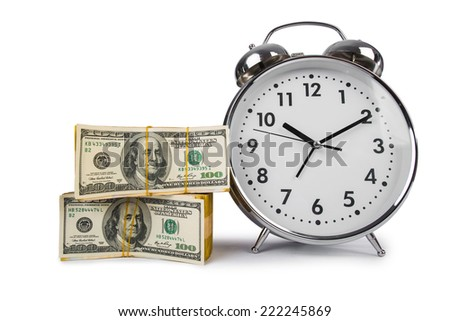 Time is money concept with clock and dollars - stock photo