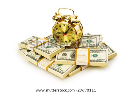 Time is money concept with dollars and clock - stock photo