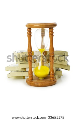 Time is money concept with dollars and hourglass - stock photo