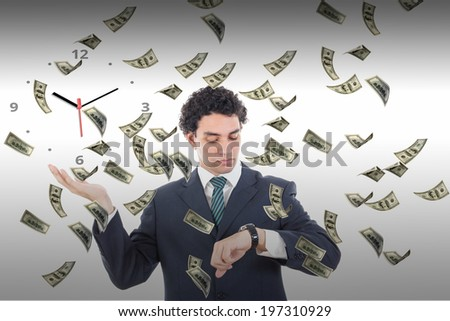 Time is money concept with flying dollars banknotes around businessman, Man looking at watch waiting for money earnings