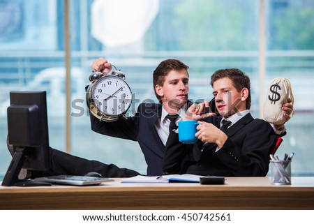 Time is money concept with two businessman - stock photo