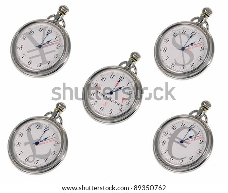 Time is money. Dollars Pounds Euros & Yen on watch face. TIM£ I$ MON€¥  is written on the middle watch - stock photo