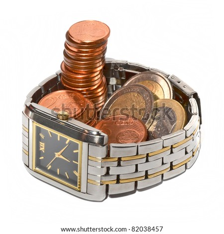 Time is money. Don't waste it. Watch and money isolated - stock photo