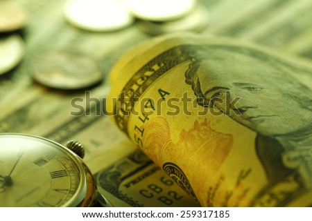 Time is money. Green Tone. Close up  - stock photo