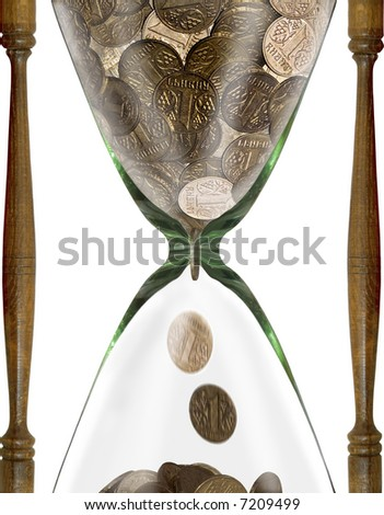 Time is money - hourglass with coins