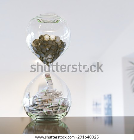 time is money (interior version with bokeh) left composition - stock photo