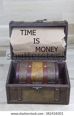time is money is written on the Brown torn paper in the treasure box. business concept
