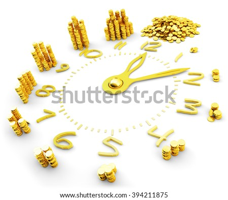 Time is money, making money, finance and business concept, yellow clock dial with increasing from hour to hour heaps of gold coins isolated on white background - stock photo