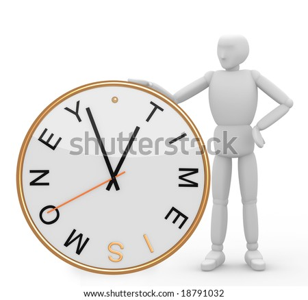 Time is money. Object over white