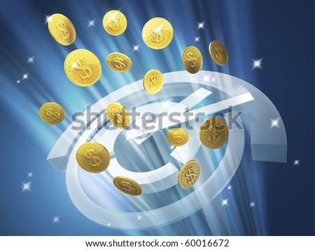 Time is money. Out of the clock in high-tech style fly gold coins with dollar sign - stock photo