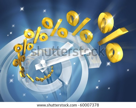 Time is money. Out of the clock in high-tech style fly gold symbols of percent. Illustration represents growth in incomes for different investment - stock photo