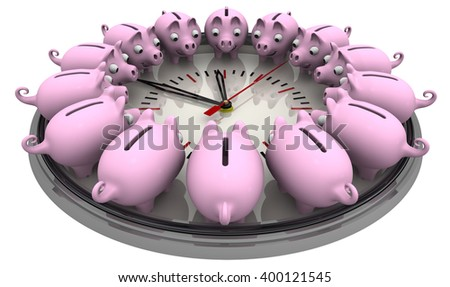 Time is money. Piggy banks located around the analog clock on a white surface. Financial concept. 3D Illustration. Isolated - stock photo